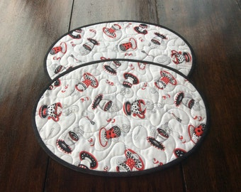 Handmade Quilted Oval Teatime Placemats.Table Topper. Home Decor.2 Place Mats.Patchwork Placemats.