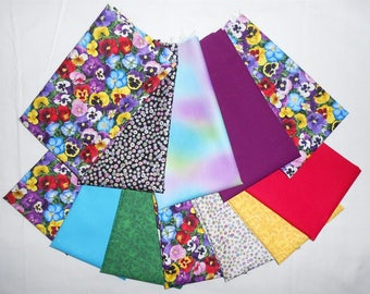 Pansy/Pansies Fabric Fat Quarter Bundle 12pc. (#O246) -Bright/purple/green/yellow/black and white dots with metallic/blue/red/floral