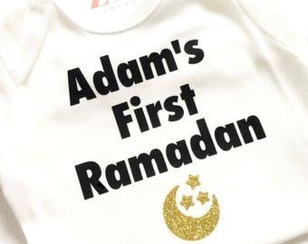 My first Ramadan bodysuit, Ramadan Kareem, Happy Ramadan, Eid Mubarak, Happy Eid, baby girl boy gift, Eidi, gift, Ramadan 2017, moon stars