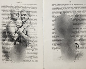 Erotic Gay poster set 2 pages /  mens love / nude men body / Printing Antique 1877 russian book  decor interior picture ART erotic