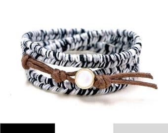 Black Boho Bracelet, Black Bracelet, Black and White, Simple Bracelet, Boho Rustic Bracelet, Triple Wrap Bracelet, Everyday Bracelet