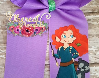 Princess Merida from Brave disney princess hand painted cheer bow painted hair bow.