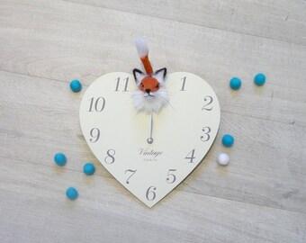Fox clock,Felt Fox, Fox,Needle felt fox clock,Clock,Woodland animal clock,Red fox clock