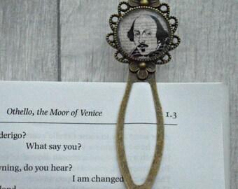 Shakespeare Bookmark - Vintage Bronze & Glass - Literary Gift - Literary Quote