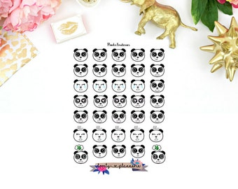 Panda emoticon stickers, panda face stickers, emotion stickers, planner stickers, panda planner stickers
