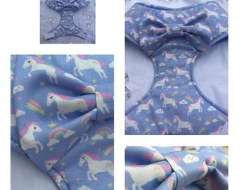 Handmade unicorns and rainbows dog pet harness with front bow