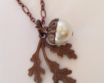 Oak Leaf & Acorn Pendant Necklace
