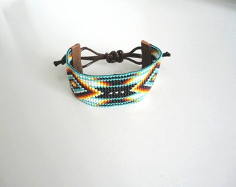 Woven beaded Bracelet by miyuki beads No. 11 Native American style.