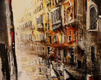 Original oil painting of Venice alley