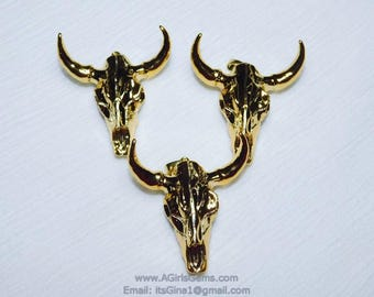 24k Gold Plated Bone Cow Skull Boho Jewelry Pendant Gold Ox Bone Skull Cowboy Supplies Crafts Supplies DIY Bull Skull
