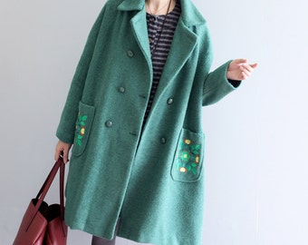 Women green coat winter woolen jacket trench coat casual with embroidery pocket