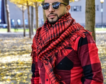 100% Cotton RED Shemagh Premium Arabic Scarf Keffiyeh