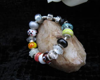 Unique Lampwork bracelet/Gift for her/Customizable/