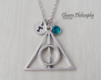 Deathly Hallows Symbol Necklace - Harry Potter Party Favors - Antique Silver Jewelry - Monogram Personalized Initial and Birthstone