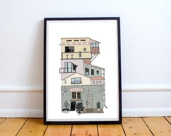 House Illustration, home, instand download, City printable, Print, Digital Print, Instant download