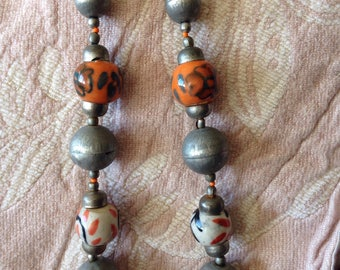 Ceramic bead necklace bright chunky