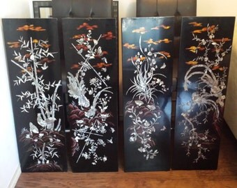 Vietnamese Lacquer Painting-Lacquered Paintings- Vietnamese Art- Set of Four Pannels- Four Seasons- Flowers- Vintage- Handmade in Vietnam