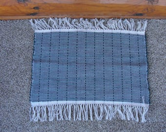 "Hand Woven Rag Rug Forest Green measures 22"" x 25"" incl. fringe item #297B"