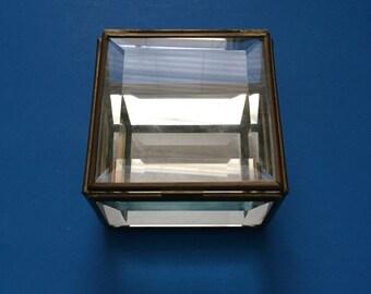 Trinket Box; Bibelot; Vintage; Jewelry Box; Mirrored Bottom;  Square Shaped;  Vintage Box; Hinged Back; Beveled Glass Edges