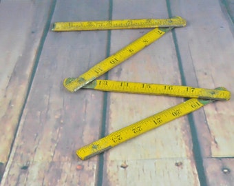 Vintage yellow wood ruler - Keuffel Esser folded 1950's compact tool