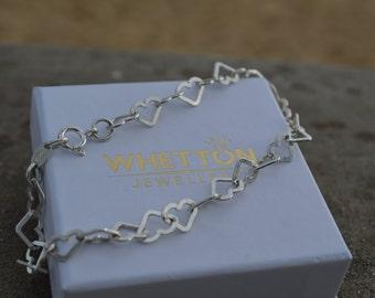 925 Sterling Silver Heart link bracelet, charm bracelet,
