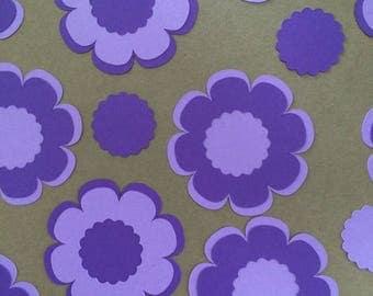 20 Purple Flower Die Cut Embellishments Paper Crafts