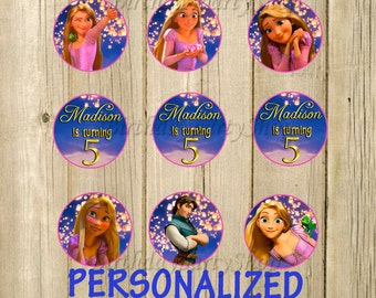 Rapunzel Cupcake Toppers , Rapunzel Birthday Circles, Personalized , Digital File