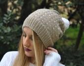 BERLIN beanie. Slouchy beanie.Hand Knit Beanie. Pom Pom Beanie. Winter Hat Pom Pom. Two colors beanie. Fair Isle Hat. Ski hat. Handknitted.