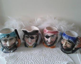 Vintage pirates porcelain mugs, pirate toby mugs, 4 pirates cups, pirates of the carribean mugs decor, porcelain pirates mugs home decor