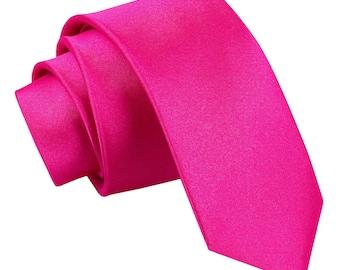 Pink Tie, Groomsman Tie, skinny tie, groomsman tie set, hot pink skinny tie, tie