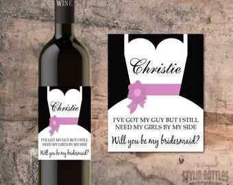 CUSTOM Bridesmaid Gift, Will You Be My Bridesmaid, Bridesmaid Proposal, Wine Label, ASKING BRIDESMAID