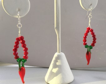 Red chili pepper drop earrings