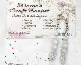 "Bicone Swarovski White Shell Pearl Earrings, 2"", Shepherd's Hooks, Crystals, Nickel Free, Bride, Flower Girl, Maid of Honour, Bridesmaid"