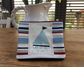 Cosmetic Bag. Nautical striped with Sailing Boat patch.