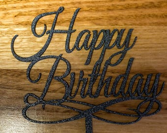 """Happy Birthday Cake Topper Decoration Sign 6"""" Wide"""