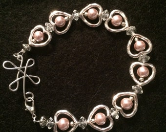 Beaded Heart Bracelet with Hand Bent Flower Clasp