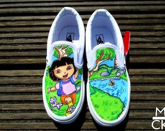 Custom Handpainted Children's Shoes- Dora The Explorer