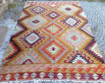 Turkish Kilim rug, Bohemian Rug, vintage rug, turkish Kilim, Turkish Rug, handwoven rugs, vintage kilim rug, Small Kilim Rug, Rugs 6.8x8.5