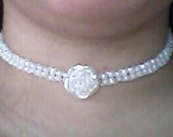 Beaded rose choker