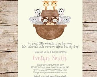 Noah's Ark Baby Shower Invitation, Watercolor Art, PRINTABLE, Watercolor Noah's Ark, Digital File