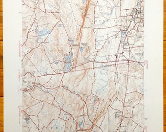 Antique Southington Wolcott Waterbury Prospect Cheshire Connecticut 1946 Us Geological