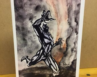 Black Panther- 5x7- Marvel- Avengers- Watercolor Print Blank Greeting Card- Glossy Card Stock- By Joanna Weinreich
