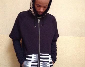 Black African print short sleeve hoodie