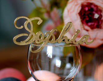 Wedding place cards, Wedding name cards, Script name signs, Lasercut name signs, Custom wood name signs, Custom place cards, Sophia NC-4