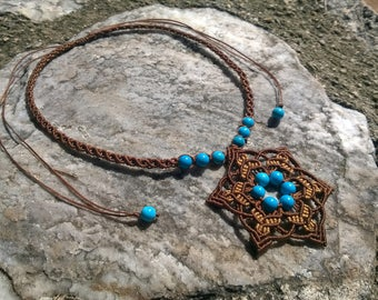 """macrame necklace / choker / flower pendant with turquoise  beads - """"Make a wish"""""""