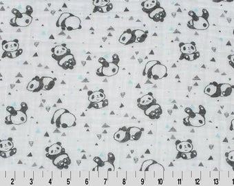 Head Over Heels Embrace Double Gauze Fabric, Panda Embrace Fabric, Panda Bear Double Gauze, Shannon Fabrics, Fabric By The Yard