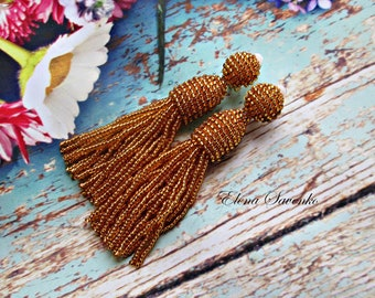 Gold crystal color/beaded tassel/Short-tassel/handmade/oscar de la renta/clip on earrings handmade beading dangle earrings