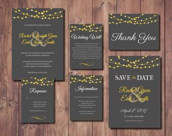 Lights Wedding Invite, Gray and Yellow Wedding Invitation, String Lights Wedding Invite, Printable Wedding Invitation
