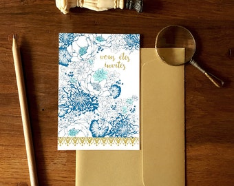 Lot of 10 invitations, party, blue flower hand-printed invitation card