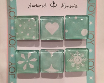 Handcrafted Glass Magnets - Set of 6 - Mint Green Winter Whimsy | Holiday Gift | Party Favors | Stocking Stuffer